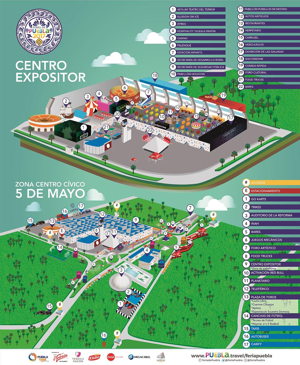 Mapa de la feria de Puebla 2017