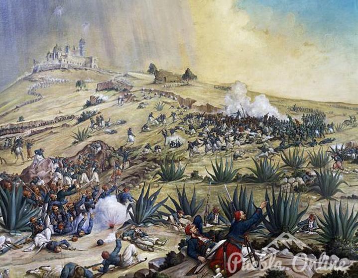 """Exhiben la pintura la """"Batalla del 5 de Mayo"""" del pintor Patricio Ramos Ortega."""